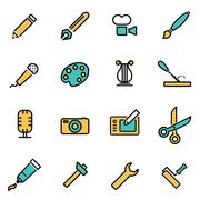 Trendy flat line icon pack for designers and developers. Vector line art tool Stock Illustration
