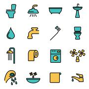 Trendy flat line icon pack for designers and developers. Vector line bathroom Stock Illustration