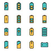 Trendy flat line icon pack for designers and developers. Vector line battery  Stock Illustration