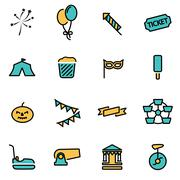 Trendy flat line icon pack for designers and developers. Vector line carnival Stock Illustration