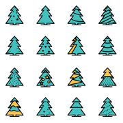 Trendy flat line icon pack for designers and developers. Vector line christma - stock illustration