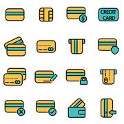 Trendy flat line icon pack for designers and developers. Vector line credit c - stock illustration