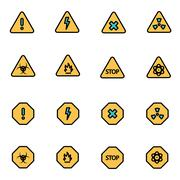 Trendy flat line icon pack for designers and developers. Vector line danger i Stock Illustration
