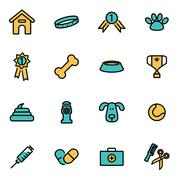Trendy flat line icon pack for designers and developers. Vector line dog icon Stock Illustration