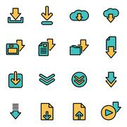 Trendy flat line icon pack for designers and developers. Vector line download Stock Illustration