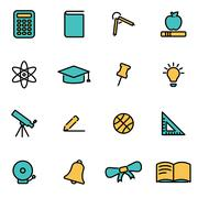 Trendy flat line icon pack for designers and developers. Vector line educatio Stock Illustration