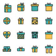 Trendy flat line icon pack for designers and developers. Vector line gift ico Stock Illustration