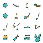 Trendy flat line icon pack for designers and developers. Vector line golf ico Stock Illustration