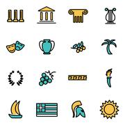 Trendy flat line icon pack for designers and developers. Vector line greece i Stock Illustration
