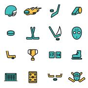 Trendy flat line icon pack for designers and developers. Vector line hockey i Stock Illustration
