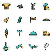 Trendy flat line icon pack for designers and developers. Vector line italian  Stock Illustration
