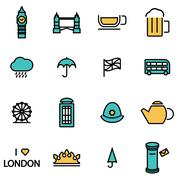 Trendy flat line icon pack for designers and developers. Vector line london i - stock illustration