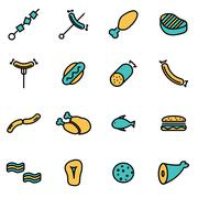 Trendy flat line icon pack for designers and developers. Vector line meat ico - stock illustration