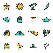 Trendy flat line icon pack for designers and developers. Vector line mexico i Stock Illustration