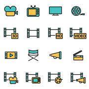 Trendy flat line icon pack for designers and developers. Vector line movie ic Stock Illustration
