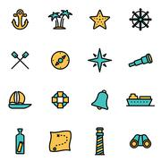 Trendy flat line icon pack for designers and developers. Vector line nautical - stock illustration