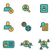 Trendy flat line icon pack for designers and developers. Vector line people s Stock Illustration