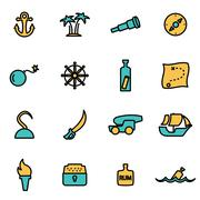 Trendy flat line icon pack for designers and developers. Vector line pirate i - stock illustration