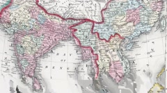 Antique map of India Stock Footage