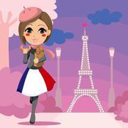 Parisien Girl Stock Illustration