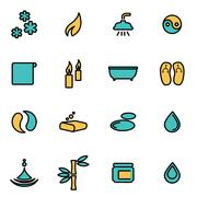 Trendy flat line icon pack for designers and developers. Vector line spa icon Stock Illustration
