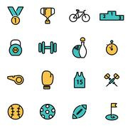 Trendy flat line icon pack for designers and developers. Vector line sport ic - stock illustration