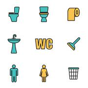 Trendy flat line icon pack for designers and developers. Vector line toilet i Stock Illustration