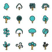 Trendy flat line icon pack for designers and developers. Vector line trees ic Stock Illustration
