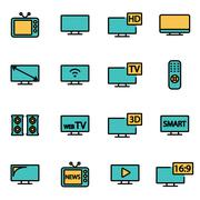 Trendy flat line icon pack for designers and developers. Vector line tv icon  Stock Illustration