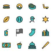 Trendy flat line icon pack for designers and developers. Vector line usa icon Stock Illustration