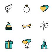 Trendy flat line icon pack for designers and developers. Vector line wedding  Stock Illustration