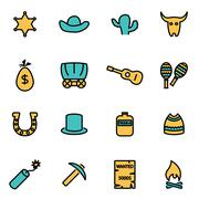 Trendy flat line icon pack for designers and developers. Vector line wild wes - stock illustration