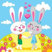 Lovely Bunny Date - stock illustration