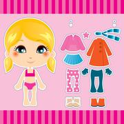 Blond Fashion Girl - stock illustration