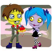 Creepy Zombie Love Stock Illustration
