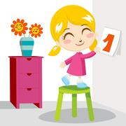Girl First Day Stock Illustration