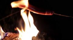 frankfurter on the fire - stock footage