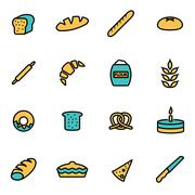 Trendy flat line icon pack for designers and developers. Vector line bakery i Stock Illustration