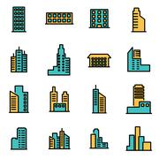 Trendy flat line icon pack for designers and developers. Vector line building Stock Illustration