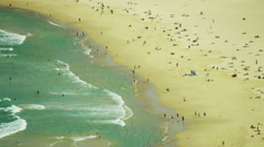 Aerial view of people enjoying Bondi Beach Sydney Australia Stock Footage