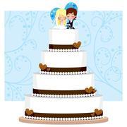 Chocolate Wedding Cake Stock Illustration