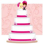 Strawberry Wedding Cake - stock illustration