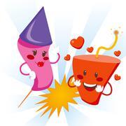 Explosive Love Fireworks - stock illustration