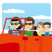 Family Car Excursion Stock Illustration