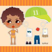 Afro American Fashion Girl Stock Illustration