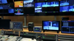 Switched on screens of television in studio - stock footage