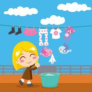 Sweet Laundry - stock illustration