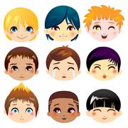 Facial Expression Collection Stock Illustration