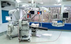 Operation room with an arthroscope, arthroscopy camera and probe in new and m - stock photo