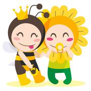 Queen Bee Wants Flower - stock illustration